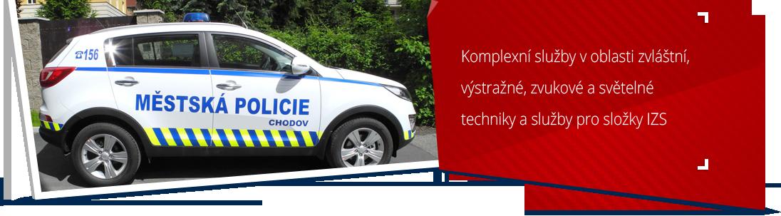 Vozidla městské policie - prodej a montáž majáků, polepy vozidel...